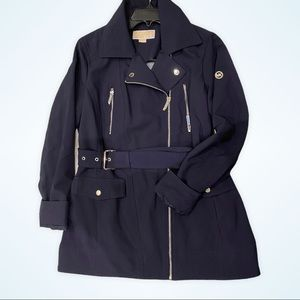 MICHAEL KORS Navy Blue Belted Sleek Trench Coat